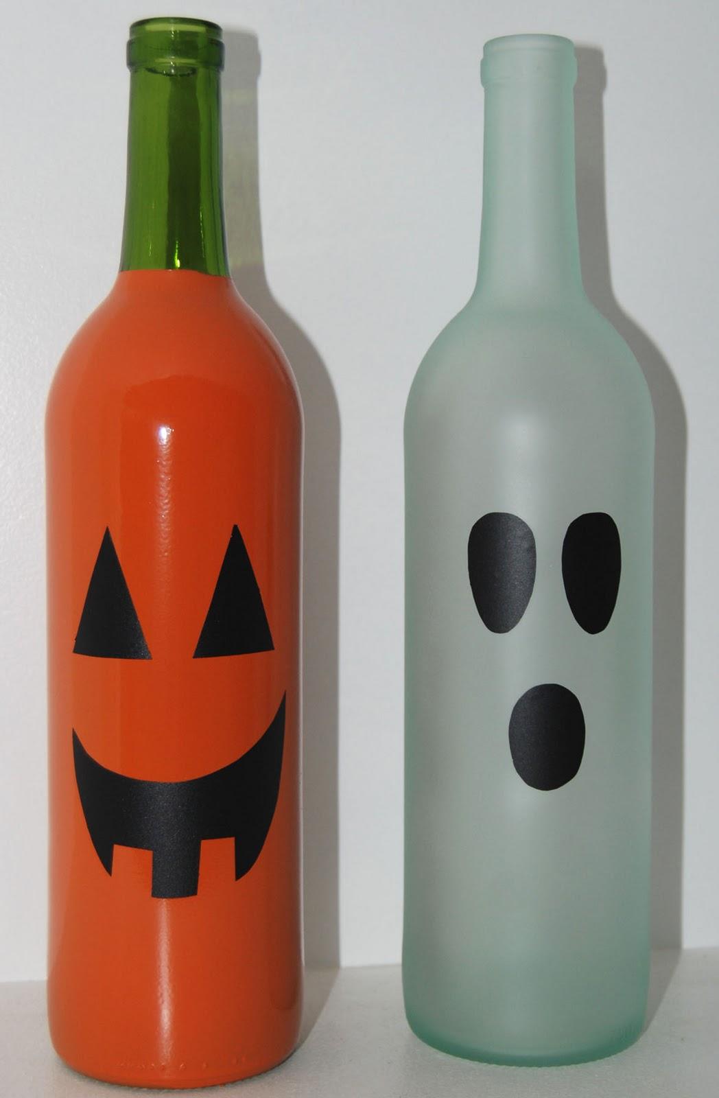 Pumpkin Ghost WIne Bottles